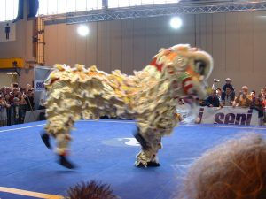 Lion Dancer at The Seni Combat Arts Show