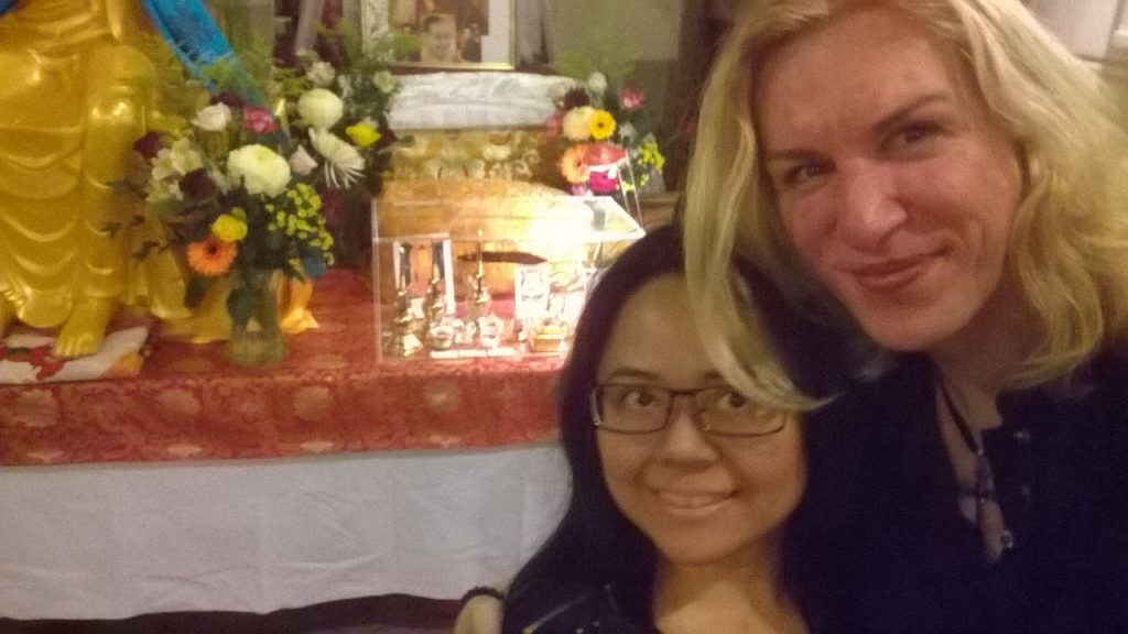 Angela and Charlotte at The Maitreya Loving Kindness Collection Tour, London 2015