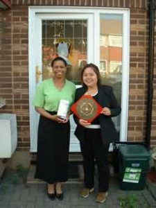 Sharon Mitchell and Feng Shui consultant Angela Ang after Sharon's Feng Shui Consultation in Enfield, North London