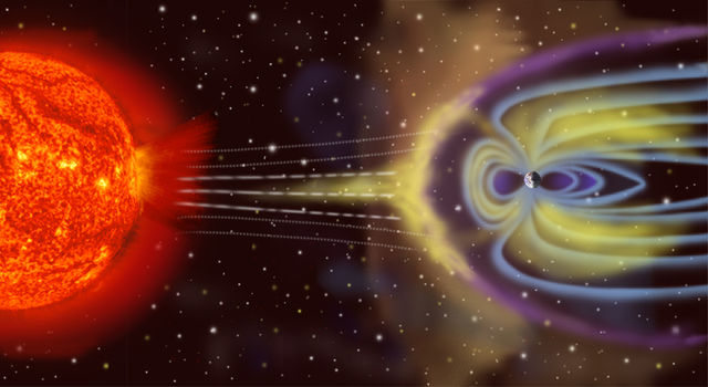 Artist's rendition of Earth's magnetosphere.