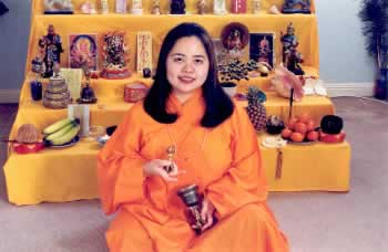 Angela in Buddhist robe