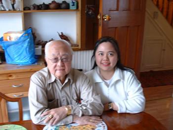 Grandmaster Yap and Angela at Master Han's home