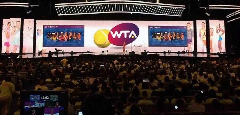 Dr Ann Quinn speaks before thousands at the WTA - Usana Convention 2016