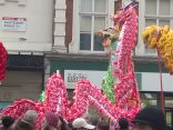 Lion and Dragon Dance costumes on Shaftesbury Avenue, London