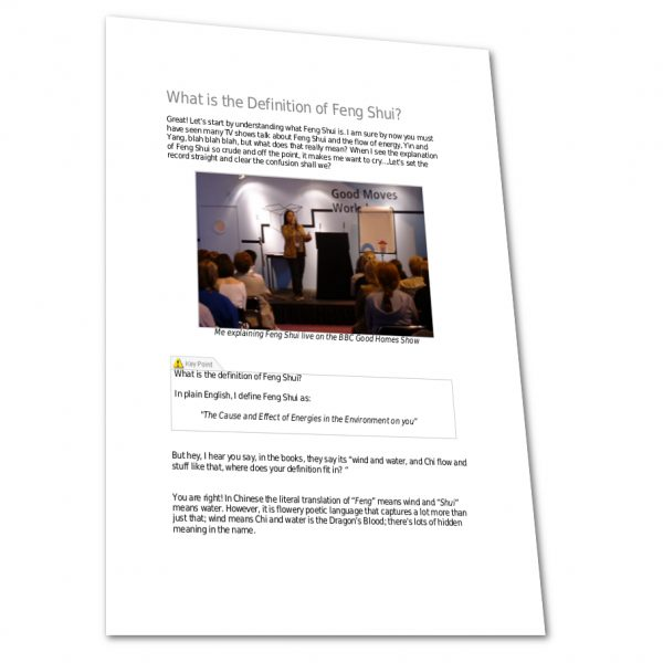 A page from the Feng Shui Essentials Course ebook